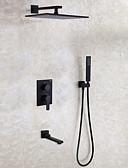abordables Biquinis y Bañadores para Mujer-Grifo de ducha - Moderno Pintura Colocado en la Pared Válvula Cerámica / Latón / Dos manijas de Cuatro Agujeros