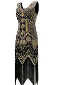 cheap Historical & Vintage Costumes-The Great Gatsby Vintage The Great Gatsby Costume Women's Dress Golden Vintage Cosplay Party Prom Sleeveless Knee Length / Sequins