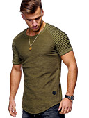 お買い得  メンズTシャツ&タンクトップ-男性用 Tシャツ ベーシック ラウンドネック ソリッド コットン ブラック XL / 半袖