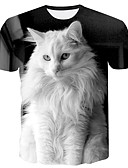 tanie Koszulki i tank topy męskie-Rozmiar plus podkoszulek Męskie Podstawowy, Nadruk Okrągły dekolt Zwierzę Kot / Krótki rękaw