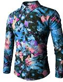 tanie Męskie koszule-Puszysta Koszula Męskie Boho, Nadruk Geometric Shape / Długi rękaw