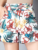 cheap Fashion Belts-Women's Active Plus Size Loose Shorts Pants - Floral Tropical Leaf, Print High Waist / Floral Patterns