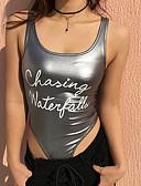 זול חליפת גוף-אותיות צווארון U חליפת גוף - בגדי ריקוד נשים