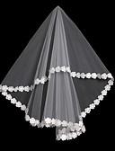 """זול הינומות חתונה-שכבה אחת שבכה / שמלה הניתנת להמרה / כיסויי ראש הינומות חתונה צעיפי אצבע עם גדילים (פרנזים) / שחבור 59.06 אינץ' (150 ס""""מ) פולי / תחרה / טול"""