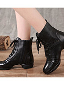 baratos Conjuntos Femininos-Mulheres Botas de Dança Pele Têni Salto Baixo Sapatos de Dança Preto / Espetáculo / Ensaio / Prática