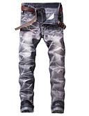 povoljno Muške jakne i kaputi-Muškarci Vintage Ulični šik Chinos Traperice Hlače Prugasti uzorak Crno-bijela Blue & White