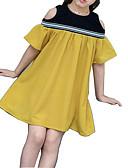 preiswerte Kleider für Mädchen-Kinder Mädchen Grundlegend Alltag Solide Kurzarm Baumwolle / Polyester Kleid Gelb