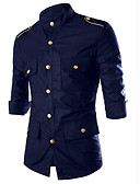 cheap Men's Shirts-Men's Military Cotton Shirt - Solid Colored Standing Collar