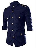 رخيصةأون قمصان رجالي-رجالي قطن قميص رقبة طوقية مرتفعة - عسكري لون سادة أسود L