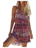 hesapli Print Dresses-Kadın's Kumsal Boho Elbise - Kabile, Desen Askılı Mini