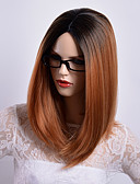 cheap Women's Nightwear-Synthetic Wig Straight Side Part Synthetic Hair Party / Synthetic / Ombre Hair Black / Dark Brown Gold Blonde Ombre Wig Women's Mid Length Capless / African American Wig / Yes / For Black Women