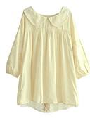 billige damesweaters-Krave Dame - Ensfarvet Bomuld I-byen-tøj Skjorte