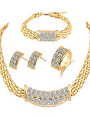 זול 2017ביקיני ובגדי ים-בגדי ריקוד נשים שרשרת עבה סט תכשיטים - אבן נוצצת מסוגנן, קלסי לִכלוֹל צמידים עגילים צמודים שרשרת זהב עבור יומי טקס