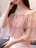 cheap Bodysuit-Women's Going out Vintage Petal Sleeves Cotton Slim Blouse - Solid Colored Lace Boat Neck