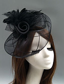 cheap Fashion Headpieces-Feather / Net Fascinators / Hats / Headdress with Feather / Floral / Flower 1pc Wedding / Special Occasion Headpiece