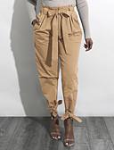 hesapli Kadın Pantolonl-Kadın's Sokak Şıklığı Tatil Günlük / Sade Kargo pantolon Pantolon - Solid Fiyonklar / Dantelli Siyah Ordu Yeşili Sarı S M L