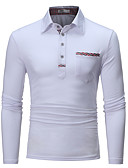 cheap Men's Polos-Men's Cotton Polo - Solid Colored Shirt Collar / Please choose one size larger according to your normal size. / Long Sleeve