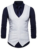 cheap Men's Blazers & Suits-Men's Plus Size Linen Vest-Solid Colored / Sleeveless