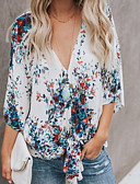 cheap Maxi Dresses-Women's Going out / Beach Blouse - Floral / Geometric V Neck