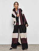 cheap Women's Coats & Trench coats-BENEVOGA Women's Street chic / Sophisticated Abaya - Creative / Plaid / Checkered / Color Block, Patchwork