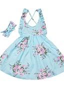 זול שמלות לבנות-שמלה עד הברך ללא שרוולים דפוס פרחוני ליציאה פעיל / בוהו בנות ילדים / כותנה