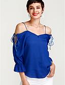 baratos Blusas Femininas-Mulheres Blusa Moda de Rua Sólido Decote V Solto / Primavera / Com Laço