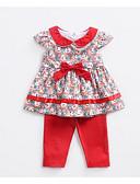 billige Sett med babyklær-Baby Jente Aktiv Daglig Geometrisk Kortermet Normal Polyester Tøysett Rød