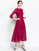 cheap Women's Dresses-Women's Holiday / Going out Vintage / Street chic Maxi Swing Dress - Solid Colored Lace Spring Black Fuchsia XL XXL XXXL