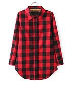 baratos Camisas Femininas-Mulheres Camisa Social Quadriculada Colarinho de Camisa