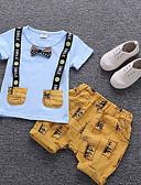 billige Sett med Gutter babyklær-Baby Gutt Grunnleggende Daglig Trykt mønster Kortermet Normal Normal Bomull Tøysett Hvit