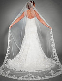 cheap Wedding Veils-One-tier Fashionable Jewelry / Flower Style / Mesh Wedding Veil Chapel Veils with Scattered Bead Floral Motif Style 110.24 in (280cm) POLY / Tulle / Oval