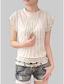 رخيصةأون بلوزات نسائية-نسائي قطن قميص نحيل مرتفعة دانتيل لون سادة أبيض XL / الصيف