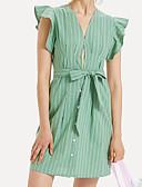 お買い得  レディースボトムス-女性用 ベーシック シフト ドレス - バックレス, ストライプ 膝上