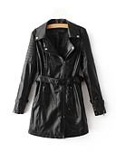 cheap Women's Dresses-Women's Holiday Leather Jacket - Solid Colored Shirt Collar