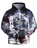 cheap Men's Hoodies & Sweatshirts-Men's Basic / Exaggerated Hoodie - 3D / Skull, Print