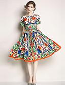 povoljno Ženske haljine-Žene Boho / Ulični šik A kroj Haljina - Print, Paisley uzorak Do koljena