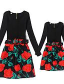 povoljno Obiteljski komplet odjeće-Mama i mene Osnovni Dnevno Cvjetni print Dugih rukava Poliester Haljina Crn S-Žene