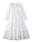 cheap Girls' Sweet Dresses-Kids Girls' Active Sweet Holiday Going out Solid Colored Lace Bow Mesh 3/4 Length Sleeve Maxi Polyester Dress White / Embroidered