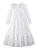 preiswerte Kleider für die Blumenmädchen-Kinder Mädchen Aktiv / Süß Festtage / Ausgehen Solide Spitze / Schleife / Gitter 3/4 Ärmel Maxi Polyester Kleid Weiß / Bestickt