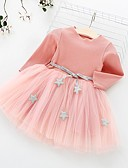 Χαμηλού Κόστους Βρεφικά φορέματα-Μωρό Κοριτσίστικα Ενεργό Γεωμετρικό Μακρυμάνικο Βαμβάκι Φόρεμα Ρουμπίνι / Νήπιο