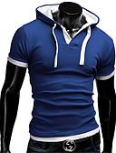 baratos Camisetas & Regatas Masculinas-Homens Camiseta Sólido Com Capuz / Manga Longa