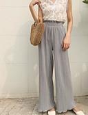 tanie Damskie spodnie-Damskie Moda miejska Puszysta Bawełna Spodnie szerokie nogawki Spodnie - Solidne kolory Czarno-biały, Frędzel Brązowy