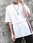 tanie Koszulki i tank topy męskie-T-shirt Męskie Podstawowy Okrągły dekolt Solidne kolory