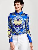 baratos Camisas Femininas-Mulheres Camisa Social - Trabalho Sofisticado Estampado, Listrado Colarinho de Camisa