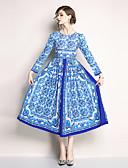 baratos Vestidos Estampados-Mulheres Boho / Moda de Rua balanço Vestido - Estampado, Floral Longo