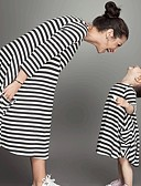 זול סטים של בגדים למשפחה-שמלה מידי ארוך שרוול 4\3 דפוס פסים בית הספר פעיל / בסיסי אמא ואני פעוטות