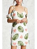olcso Női hálóruházat-Női Extra méret Alkalmi Vintage Pamut Puffos Egyenes Ruha - Pliszé, Egyszínű / Mértani Térdig érő Fekete-fehér