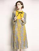 cheap Women's Dresses-Women's Holiday / Going out Vintage / Sophisticated Flare Sleeve A Line Dress - Color Block Lace Stand Spring Yellow L XL XXL