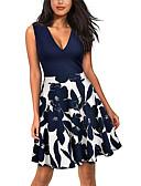 baratos Vestidos Estampados-Mulheres Vintage Tamanhos Grandes Algodão Calças - Floral Estampado Azul / Decote em V Profundo / Para Noite