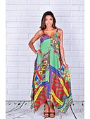 baratos Vestidos Longos-Mulheres Chifon Vestido - Estampado Assimétrico